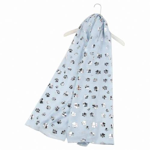 Bisoux Silver Paw Print Foil Print Scarf in Sky Blue